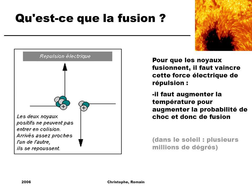 Qu est-ce que la fusion Pour que les noyaux fusionnent, il faut vaincre cette force électrique de répulsion :