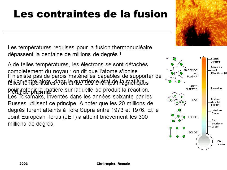 Les contraintes de la fusion