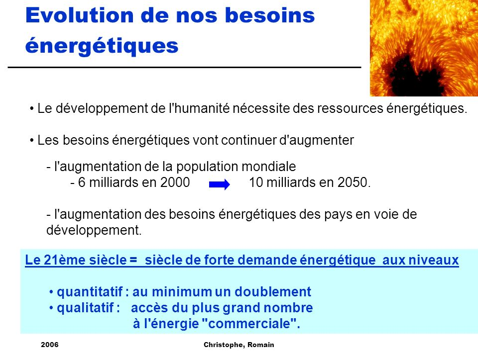 Evolution de nos besoins énergétiques