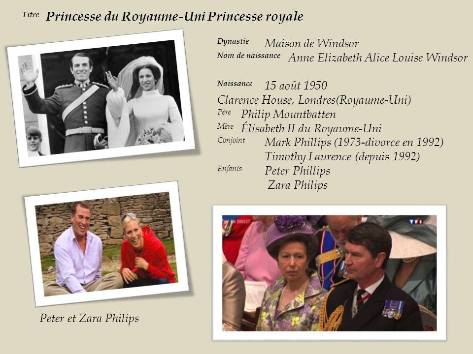 Titre Princesse du Royaume-Uni Princesse royale