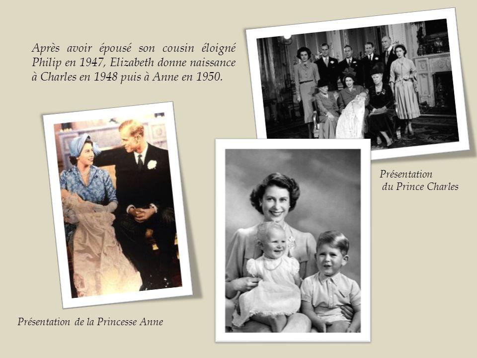 Après avoir épousé son cousin éloigné Philip en 1947, Elizabeth donne naissance à Charles en 1948 puis à Anne en 1950.