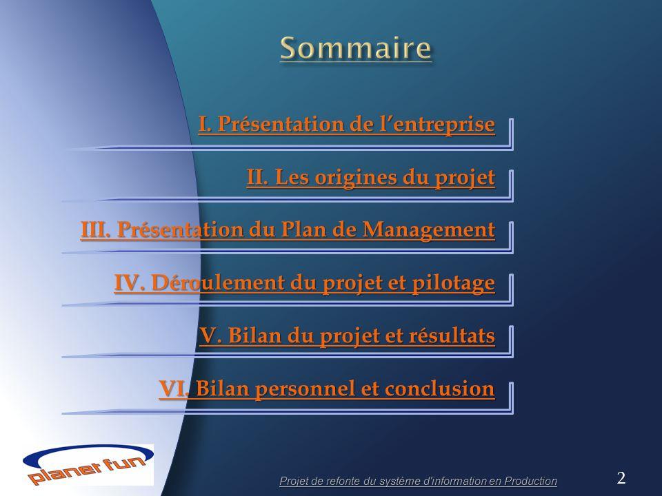 Projet de refonte du système d information en Production