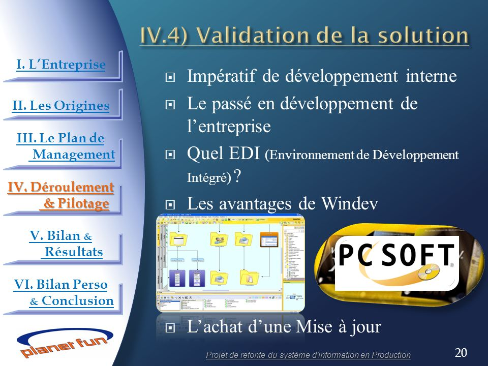 IV.4) Validation de la solution