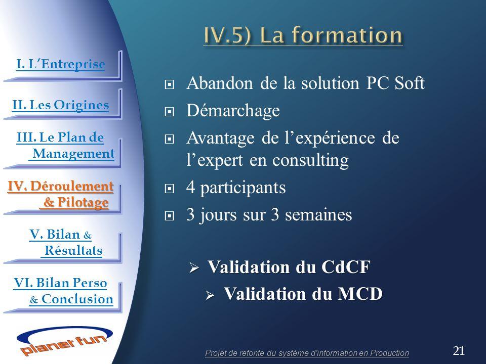 IV.5) La formation Abandon de la solution PC Soft Démarchage