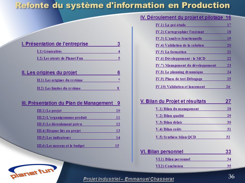Refonte du système d information en Production