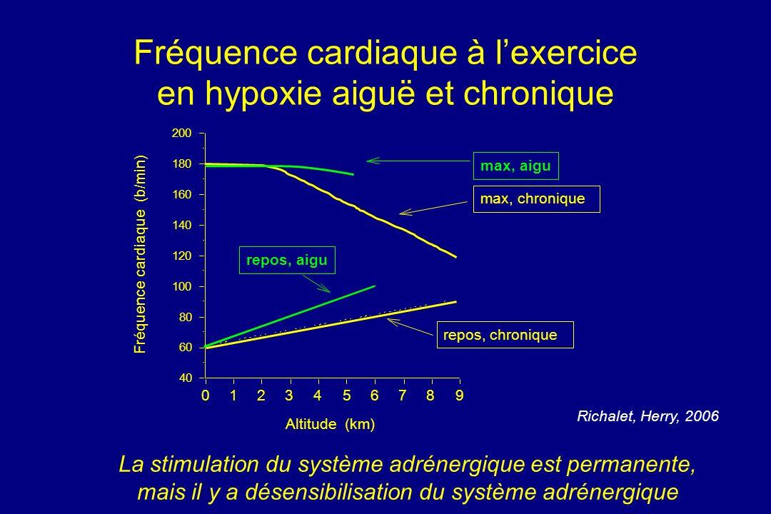 Fréquence cardiaque à l'exercice en hypoxie aiguë et chronique