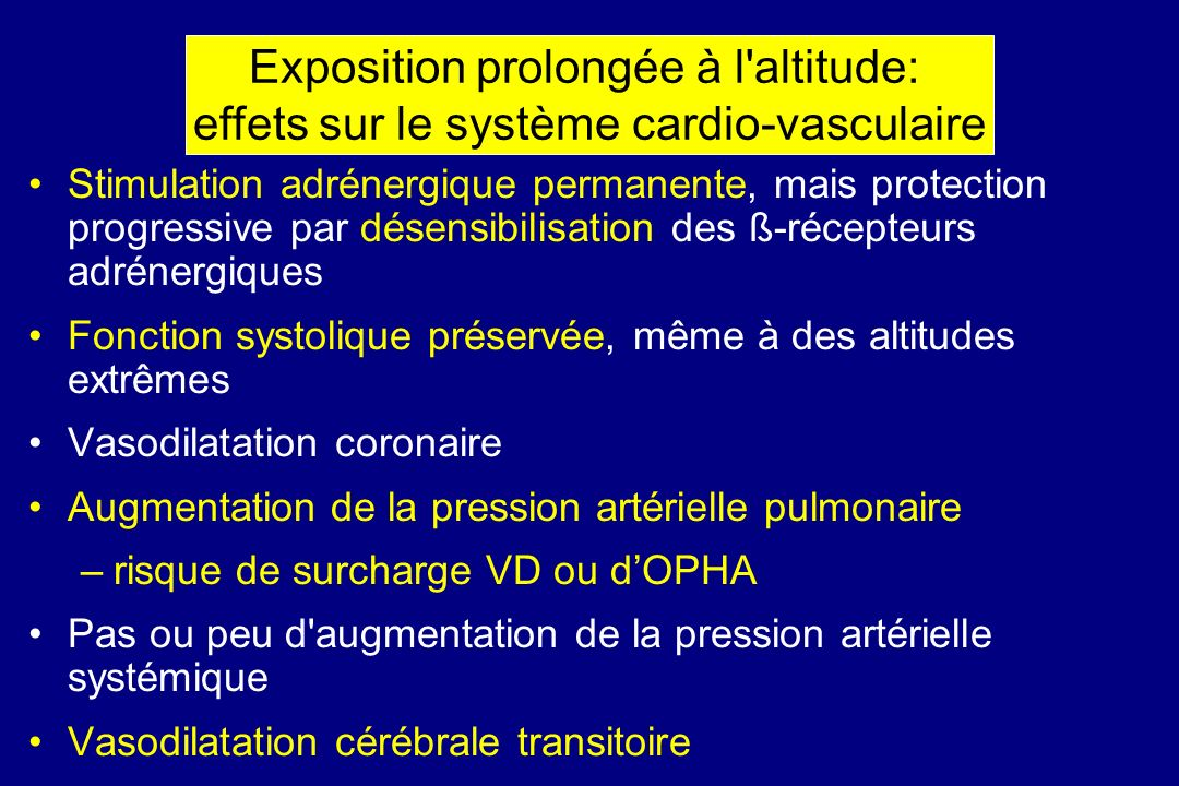 Exposition prolongée à l altitude: effets sur le système cardio-vasculaire