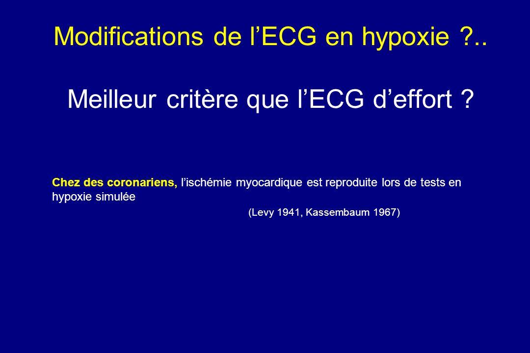 Modifications de l'ECG en hypoxie .. Meilleur critère que l'ECG d'effort