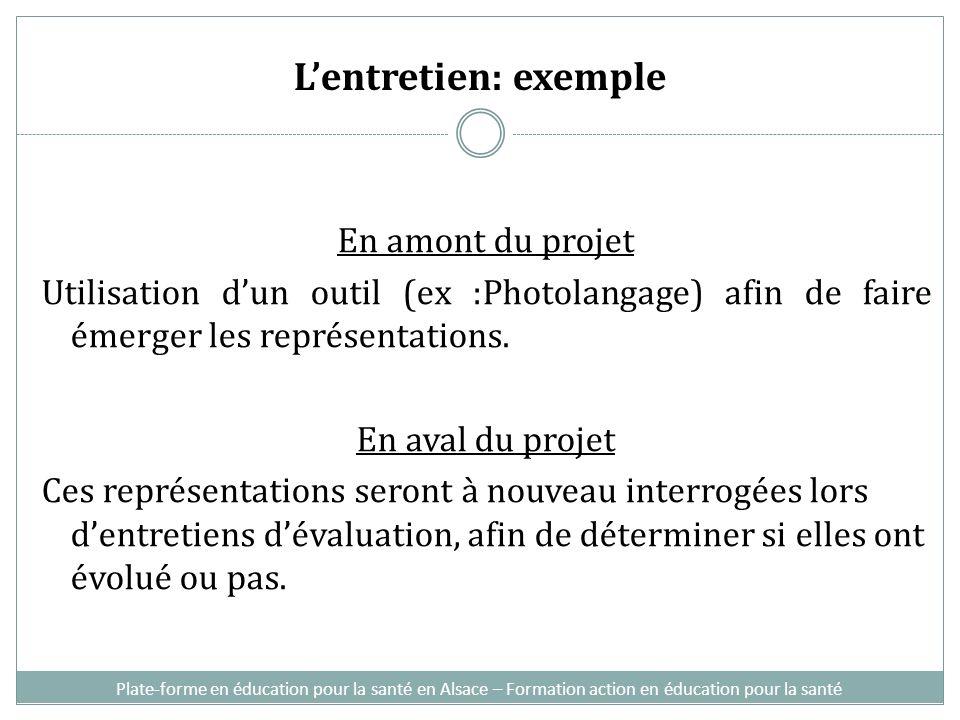 L'entretien: exemple En amont du projet