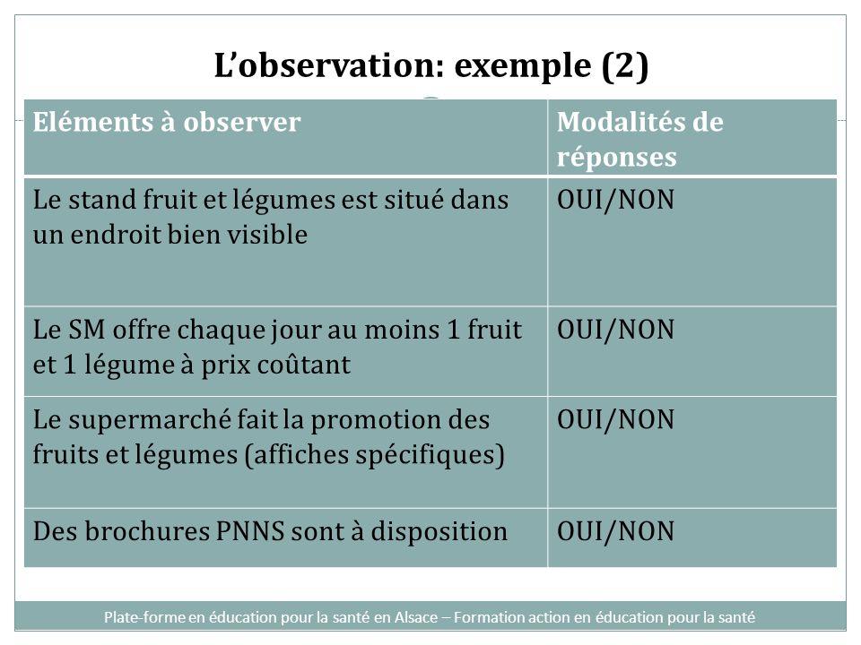 L'observation: exemple (2)