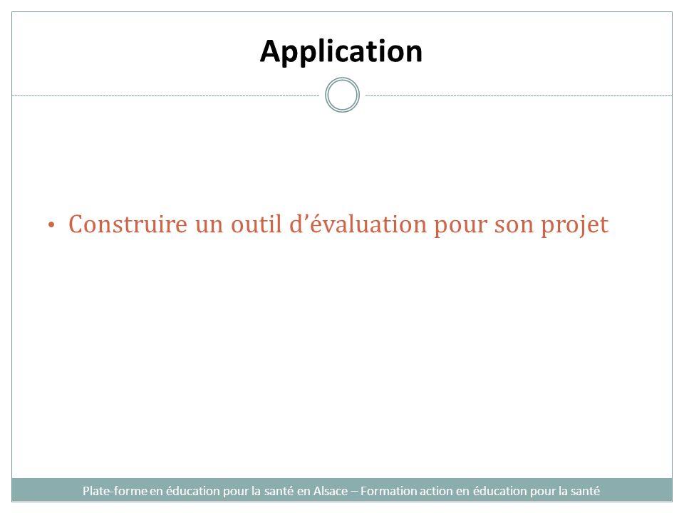 Application Construire un outil d'évaluation pour son projet