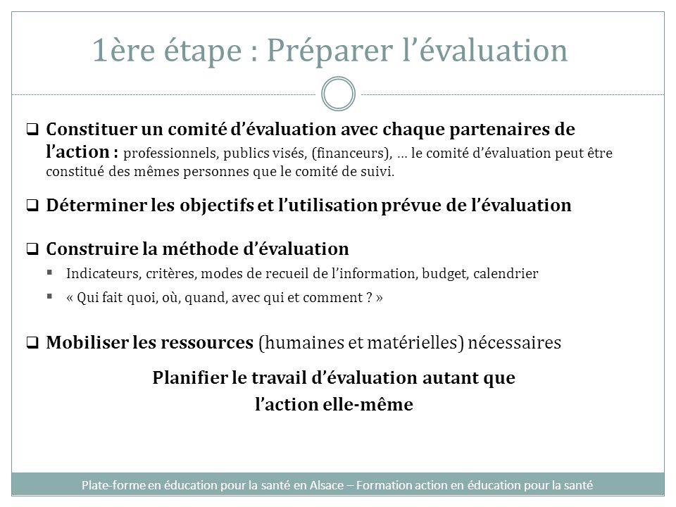 1ère étape : Préparer l'évaluation