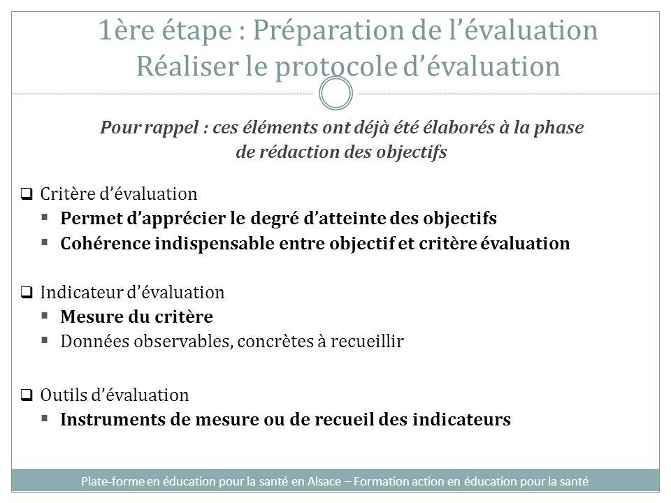 1ère étape : Préparation de l'évaluation Réaliser le protocole d'évaluation