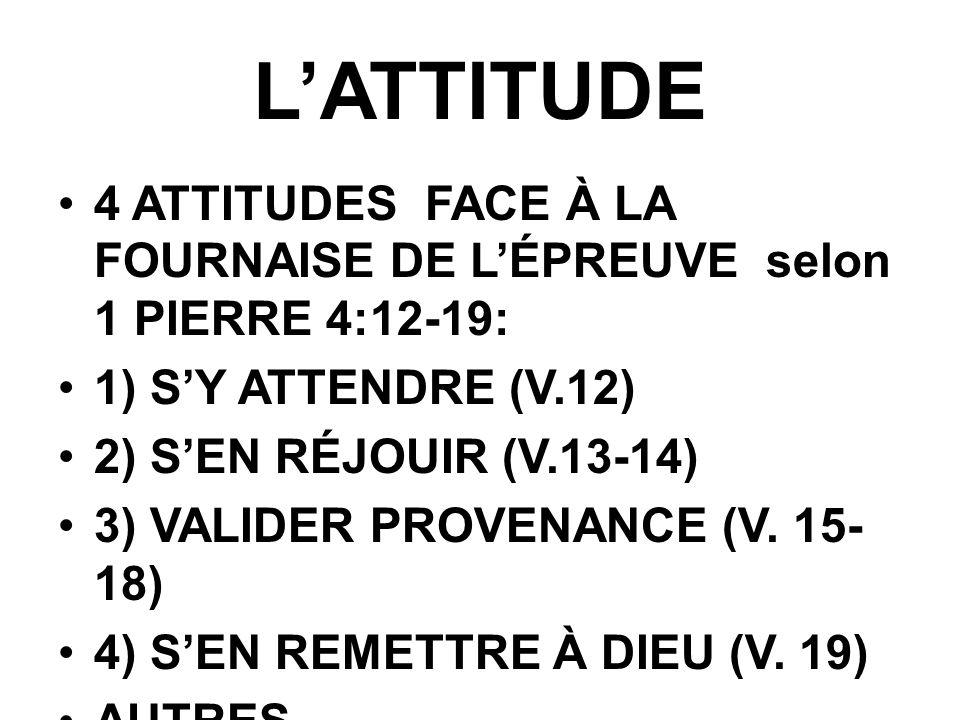L'ATTITUDE 4 ATTITUDES FACE À LA FOURNAISE DE L'ÉPREUVE selon 1 PIERRE 4:12-19: 1) S'Y ATTENDRE (V.12)