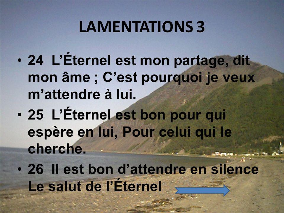 LAMENTATIONS 3 24 L'Éternel est mon partage, dit mon âme ; C'est pourquoi je veux m'attendre à lui.