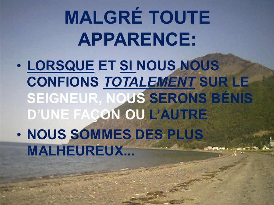 MALGRÉ TOUTE APPARENCE: