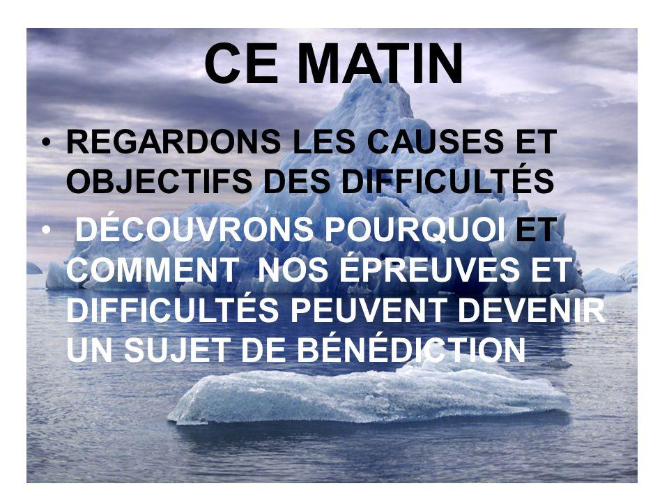 CE MATIN REGARDONS LES CAUSES ET OBJECTIFS DES DIFFICULTÉS
