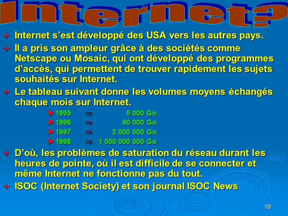 Internet Internet s'est développé des USA vers les autres pays.