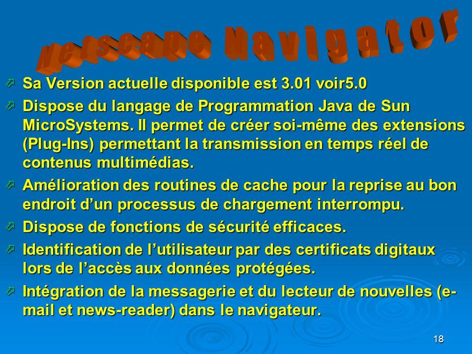 Netscape Navigator Sa Version actuelle disponible est 3.01 voir5.0