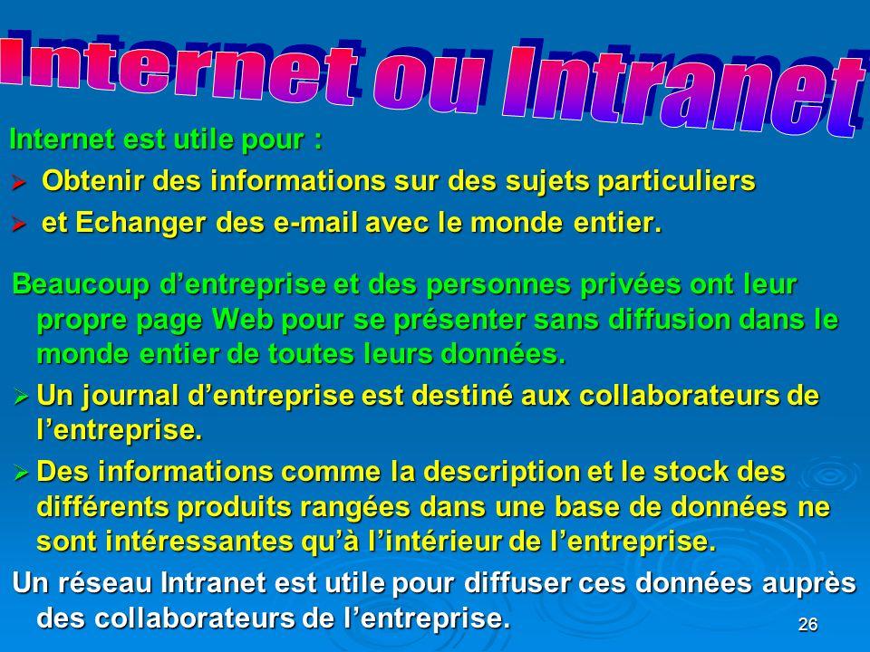 Internet ou Intranet Internet est utile pour :