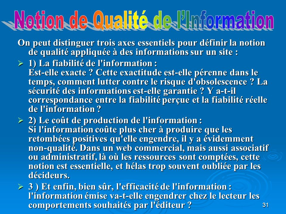 Notion de Qualité de l'Information