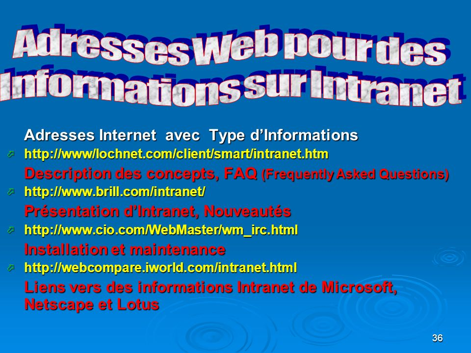 Informations sur Intranet