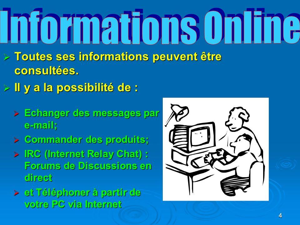 Informations Online Toutes ses informations peuvent être consultées.