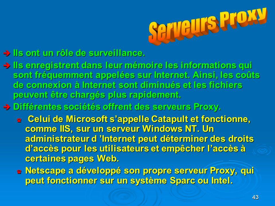 Serveurs Proxy Ils ont un rôle de surveillance.