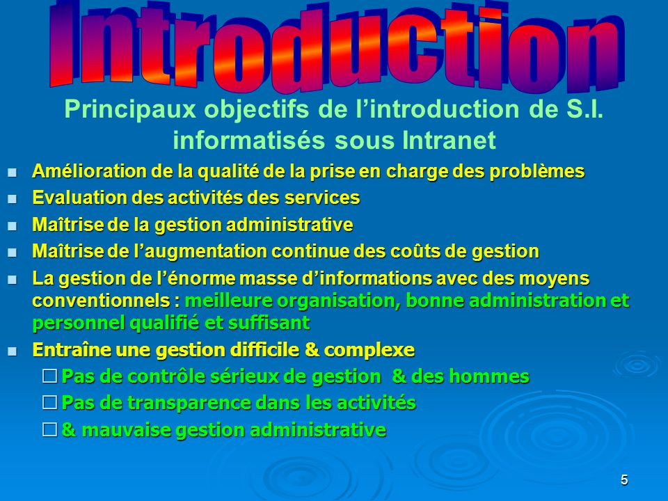 Introduction Principaux objectifs de l'introduction de S.I. informatisés sous Intranet.