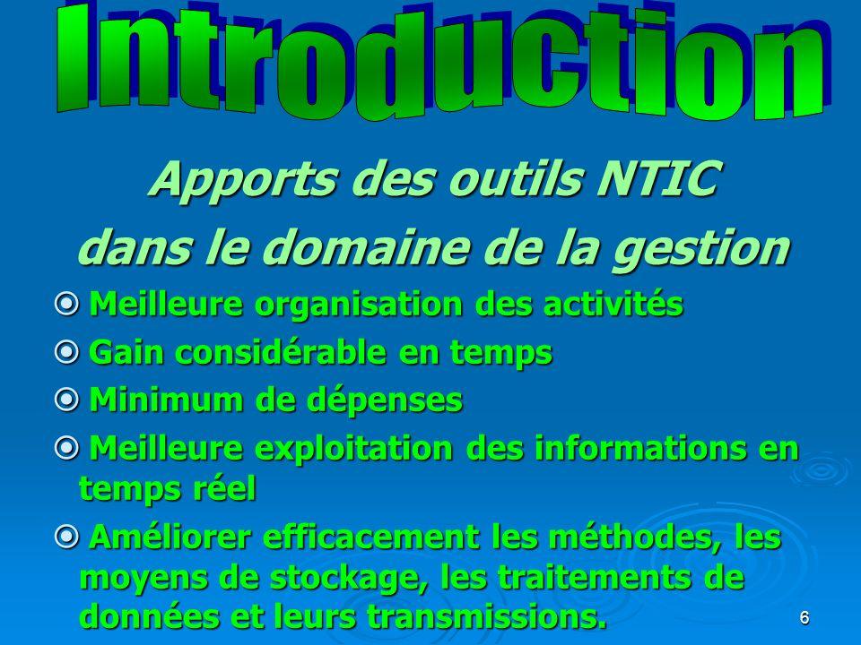 Apports des outils NTIC dans le domaine de la gestion