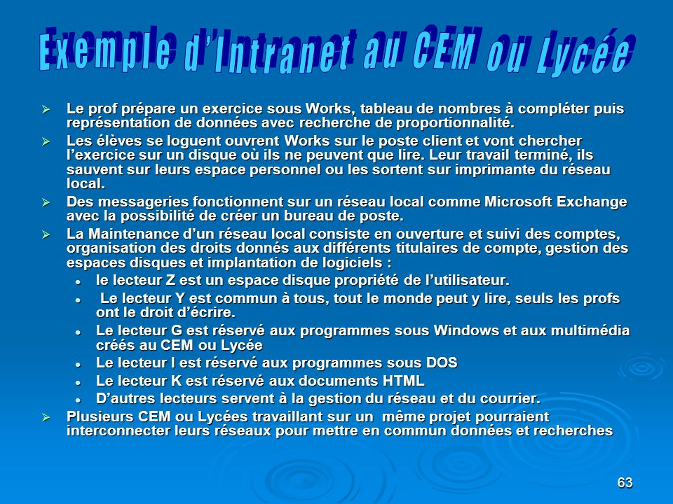 Exemple d'Intranet au CEM ou Lycée