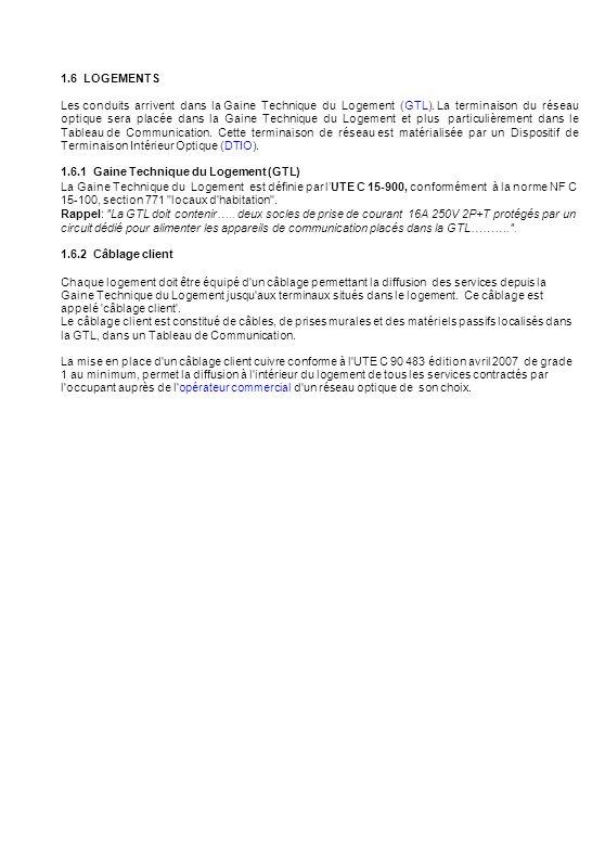 1.6 LOGEMENTSLes conduits arrivent dans la Gaine Technique du Logement (GTL). La terminaison du réseau.