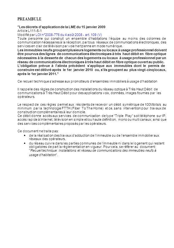 PREAMBULE Les décrets d application de la LME du 15 janvier 2009