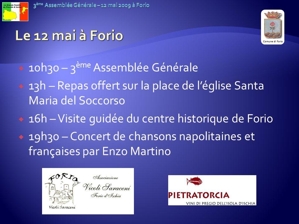 Le 12 mai à Forio 10h30 – 3ème Assemblée Générale