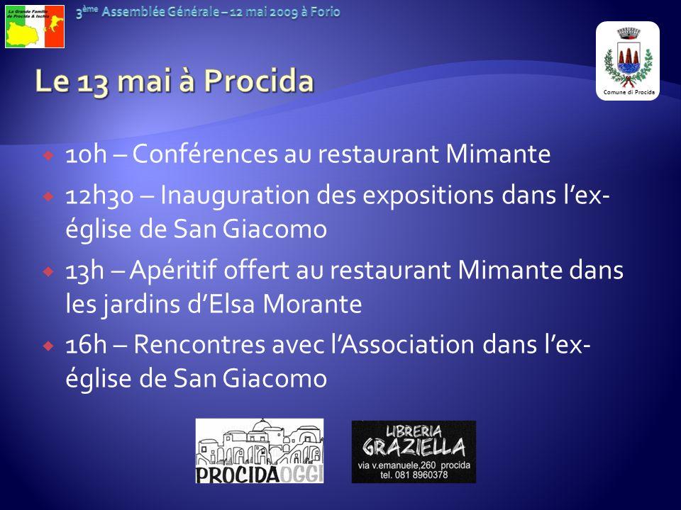 Le 13 mai à Procida 10h – Conférences au restaurant Mimante