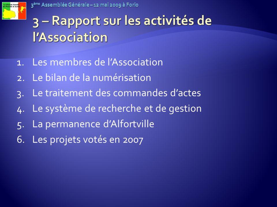 3 – Rapport sur les activités de l'Association