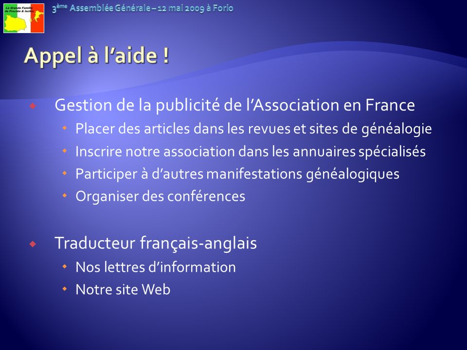 Appel à l'aide ! Gestion de la publicité de l'Association en France