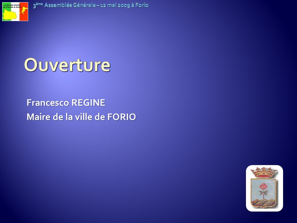 Ouverture Francesco REGINE Maire de la ville de FORIO
