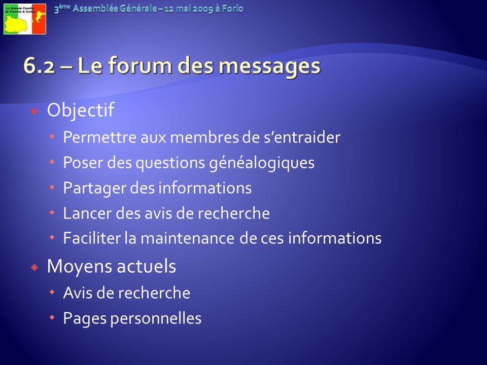 6.2 – Le forum des messages Objectif Moyens actuels