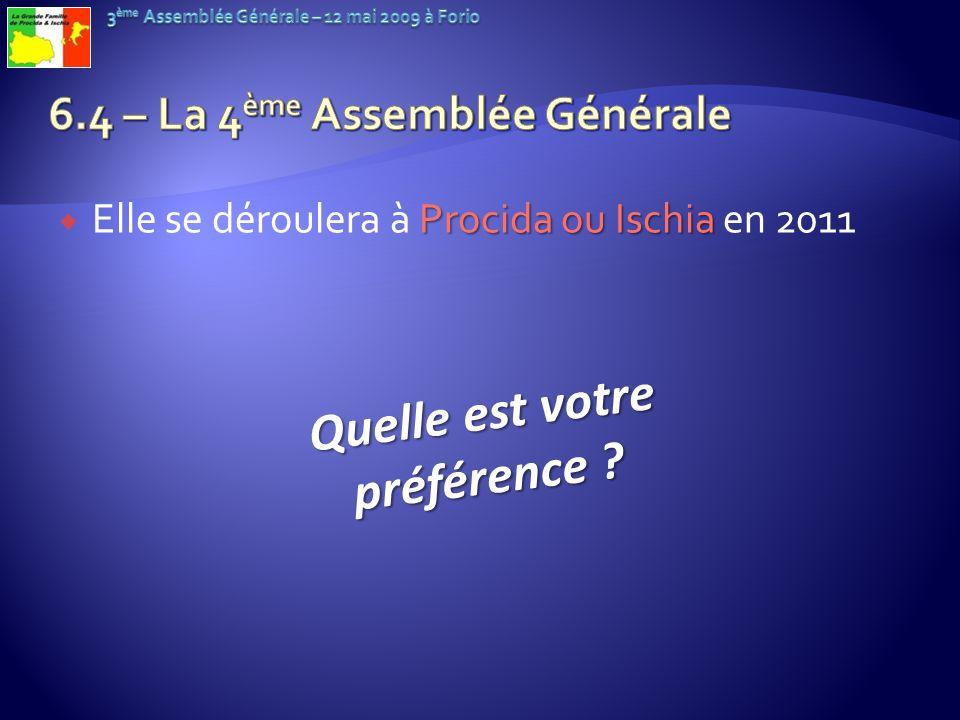 6.4 – La 4ème Assemblée Générale