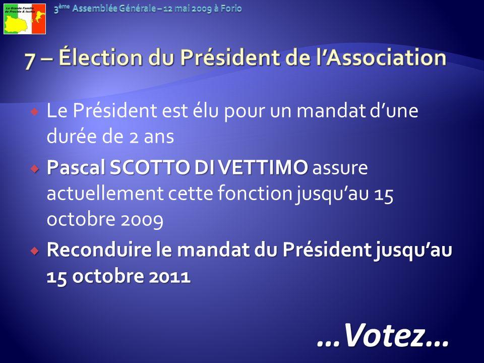 7 – Élection du Président de l'Association