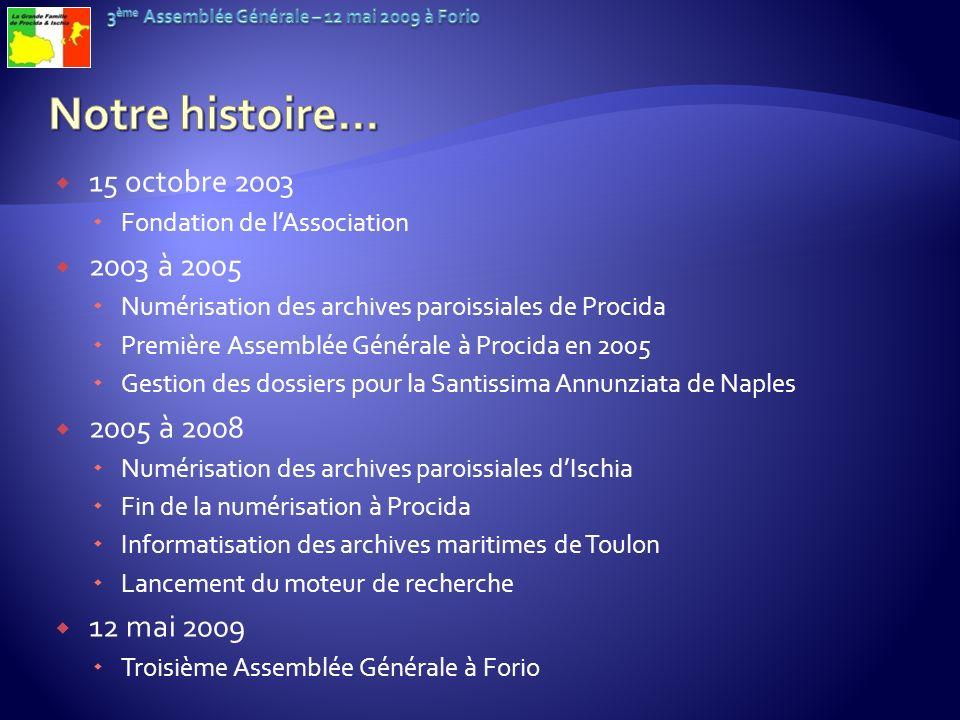 Notre histoire… 15 octobre 2003 2003 à 2005 2005 à 2008 12 mai 2009