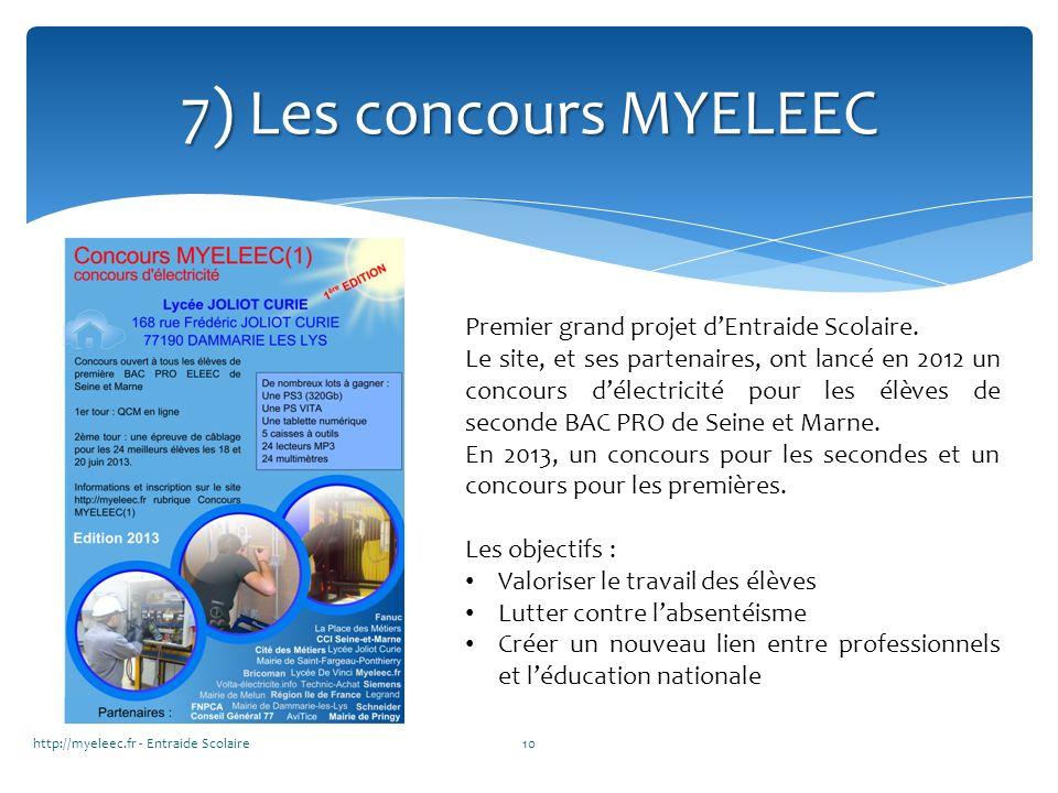 7) Les concours MYELEEC Premier grand projet d'Entraide Scolaire.