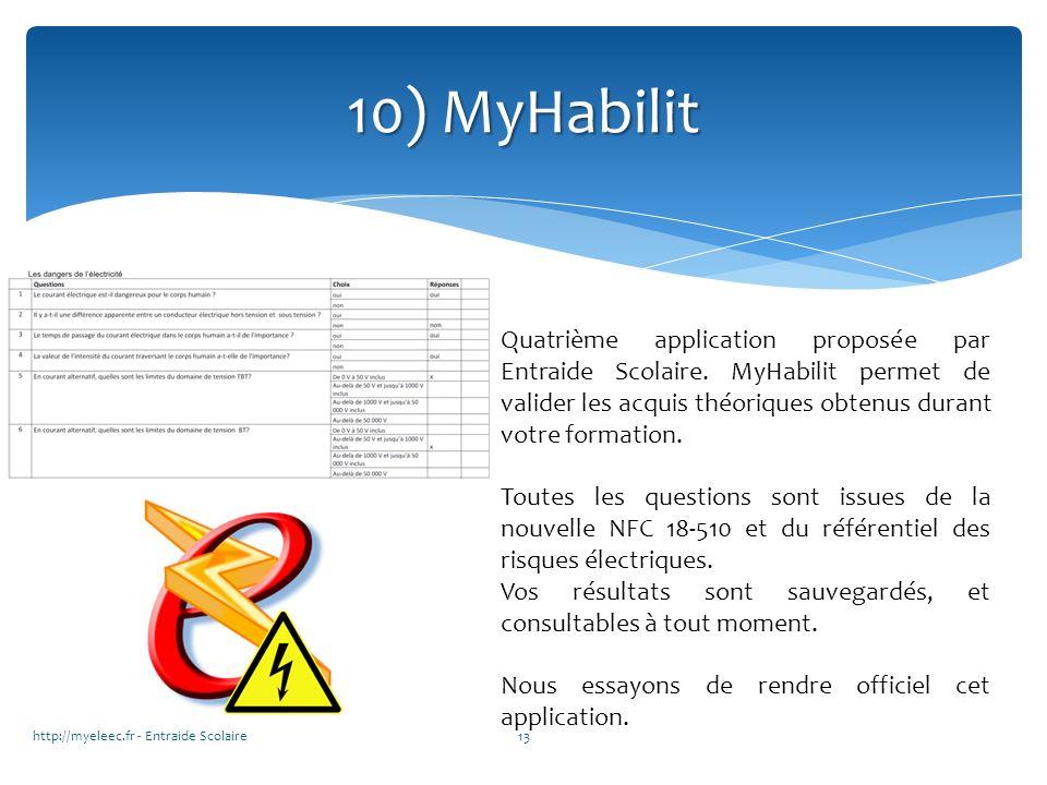 10) MyHabilit Quatrième application proposée par Entraide Scolaire. MyHabilit permet de valider les acquis théoriques obtenus durant votre formation.