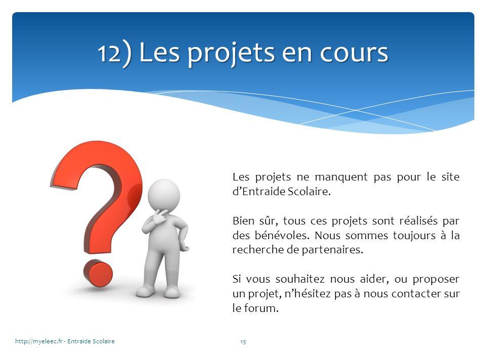12) Les projets en cours Les projets ne manquent pas pour le site d'Entraide Scolaire.
