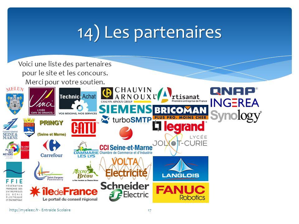 14) Les partenaires Voici une liste des partenaires