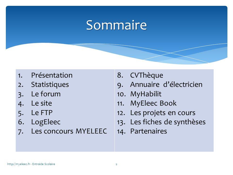 Sommaire Présentation Statistiques Le forum Le site Le FTP LogEleec