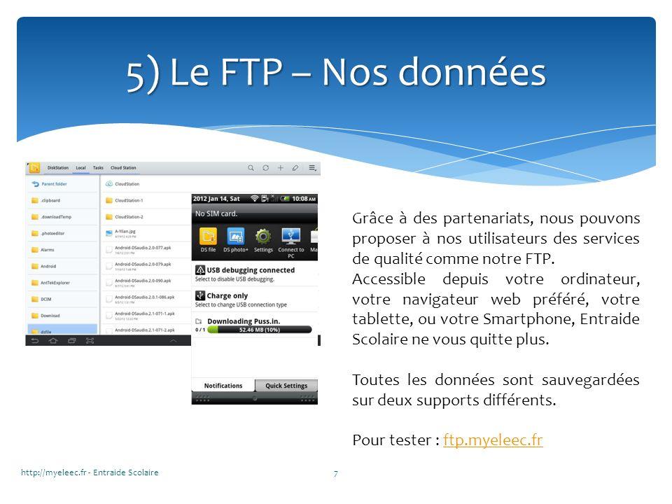 5) Le FTP – Nos données Grâce à des partenariats, nous pouvons proposer à nos utilisateurs des services de qualité comme notre FTP.