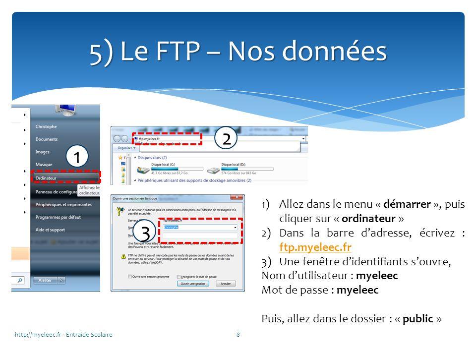 5) Le FTP – Nos données 2. 1. 1. Allez dans le menu « démarrer », puis cliquer sur « ordinateur »
