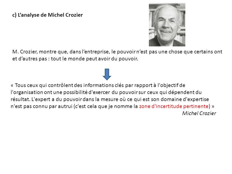c) L'analyse de Michel Crozier